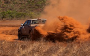 Picture grey, speed, Ford, dust, Raptor, pickup, 2018, Ranger