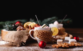 Picture new year, cookies, New Year, hot chocolate, decor