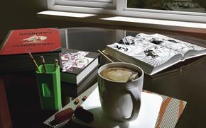 Picture Coffee, Summer, Books, Render, Blender 3D