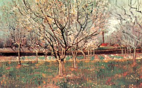 Picture trees, flowers, Vincent van Gogh, Plum Trees, Orchard in Blossom
