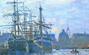 Picture landscape, the city, picture, port, Claude Monet