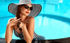 Picture pool, hat, pretty, swimsuit, pose