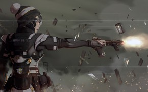 Picture Girl, Fire, Gun, Illustration, Weapon, 707, Soldier, Characters, Korean, Operator, Game Art, by FrAg MenT, …