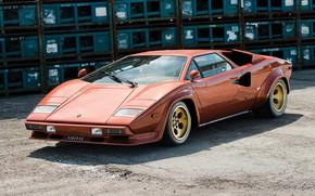 Picture Orange, Supercar, Lamborghini Countach, 1974, Classic Car