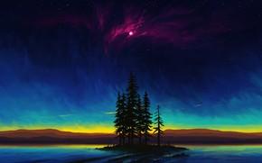 Picture moon, sky, trees, landscape, nature, night, art, lake, stars, island, night sky, artist, digital art, …