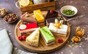 Picture nuts, cream, dessert, cakes, cuts, cutting Board