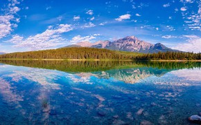 Wallpaper autumn, forest, clouds, mountains, lake, reflection, blue, stones, tops, view, the bottom, Canada, panorama, Albert, ...