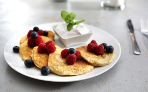 Picture berries, Breakfast, sour cream, pancakes