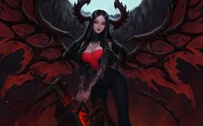 Picture Wings, Hell, The demon, Fantasy, Horns, Art, Succubus, Illustration, Succubus, Demon, Wings, Horns, Citemer Liu, …