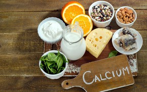 Picture orange, food, fish, cheese, milk, nuts, wood, sour cream, beans, spinach