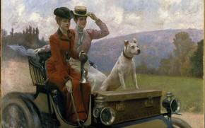Picture women, dog, car, 1901, Julius LeBlanc Stewart, Юлиус Леблан Стюарт, Les Dames Goldsmith au bois …