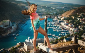 Picture look, girl, the city, pose, smile, mood, Board, shorts, the situation, panorama, legs, forest, Alex …