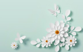 Picture butterfly, flowers, style, paper, background, pattern, white