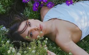Picture look, girl, flowers, pose, photo, actress, lips, beauty, Eiza Gonzalez
