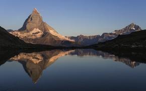 Picture mountains, lake, Switzerland, Riffelsee