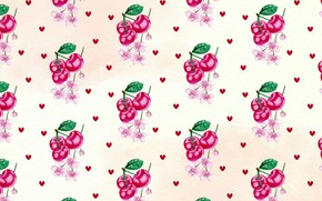 Picture flowers, cherry, background, texture, hearts, Cherry, pattern, hearts