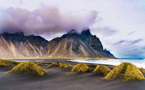 Picture sand, sea, clouds, mountains, shore, vegetation, tops, dunes, Iceland, sandy