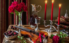 Picture flowers, style, berries, notes, wine, violin, watch, glass, books, roses, bouquet, candles, glasses, still life, …