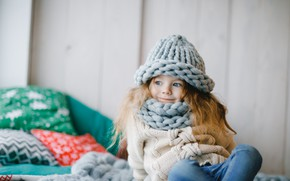 Picture smile, hat, jeans, scarf, girl, happy, smile, cute, little girl