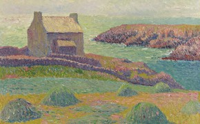 Picture landscape, picture, Henri Sea, Henry Moret, The house on the Hill