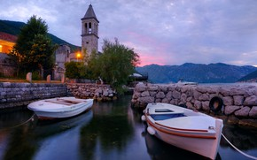 Picture water, landscape, mountains, Bay, boats, the evening, lighting, lights, the village, Montenegro, the bell tower, …