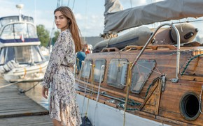 Picture look, girl, pose, yachts, pier, dress, Олег Коломийченко