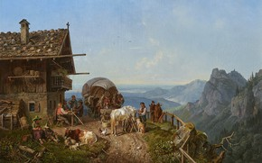 Wallpaper 1843, German painter, German painter, Tavern in the mountains, Henry Burkel, Tavern in the mountains, ...