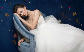 Picture model, chair, dress, the bride