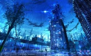 Picture the city, fiction, rain, robot, abandoned