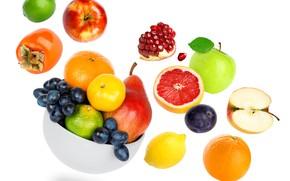 Picture lemon, apples, orange, grapes, fruit, grapefruit, garnet