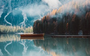 Picture forest, mountains, lake, boat
