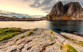 Picture the sky, grass, clouds, landscape, mountains, nature, stones, rocks, tops, Norway, houses, pond, settlement, rocky …