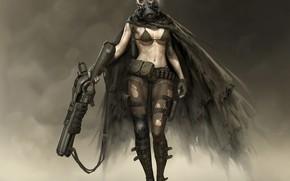 Wallpaper look, weapons, Girl, mask