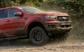 Picture squirt, movement, Ford, the hood, dirt, pickup, the front part, Ranger, Lariat, Tremor, 2021