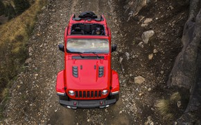 Picture red, the hood, the view from the top, 2018, Jeep, Wrangler Rubicon