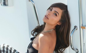 Picture look, girl, photo, hair, makeup, brunette, beauty, chain, Olivia Culpo