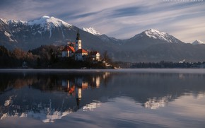Picture winter, snow, landscape, mountains, nature, lake, reflection, home, Church, island, Slovenia, Bled