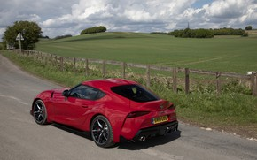 Picture road, grass, red, the fence, coupe, Toyota, Supra, the fifth generation, mk5, double, 2019, UK …