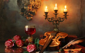 Picture flowers, notes, pen, wine, violin, glass, roses, candles, sculpture, ring, Andrey Morozov