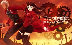 Picture weapons, anime, art, male, Fate/Stay Night, Rin, Archer, Fate stay night