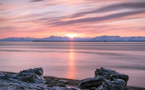 Picture winter, snow, sunset, mountains, dawn, shore, pond, pink sky