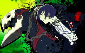 Picture the game, monster, anime, art, guy, person, Persona