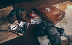 Picture card, photo, table, binoculars, portfolio, compass, wot, world of Tanks
