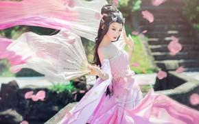 Wallpaper look, girl, light, decoration, nature, face, pose, style, background, pink, street, spring, hands, makeup, petals, ...