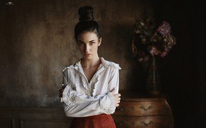 Picture look, pose, hands, blouse, hairstyle, Alla Berger, Dmitry Arhar