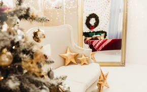 Picture winter, stars, room, holiday, toys, Christmas, New year, Christmas decorations, новогодние декорации