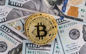Picture close-up, money, coins, dollars, currency, the bucks, bokeh, banknotes, Bitcoin, bitcoin