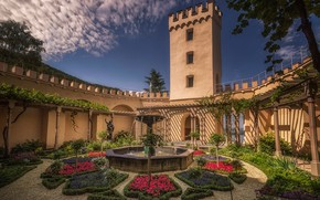 Picture the sky, the sun, clouds, trees, flowers, design, castle, wall, tower, Germany, fountain, the bushes, …