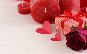 Picture love, gift, roses, candles, red, red, love, heart, flowers, romantic, valentine's day, roses, gift box