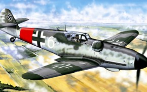 Picture late, Bf.109G-6, flashlight improved visibility, 9./JG302, Erla Hood, Willi Reschke